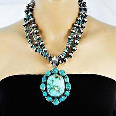 A-BIG-LaRose-Ganadonegro-Nautral-Turquoise-Cluster-Squash-Blossom-Necklace-SET
