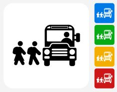 School Bus Icon Flat Graphic Design vector art illustration