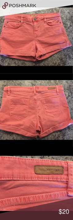 Sanctuary Coral-Colored Denim Shorts Coral-colored denim shorts. Cuff is sewn—approximately 3in inseam. Sanctuary Shorts Jean Shorts