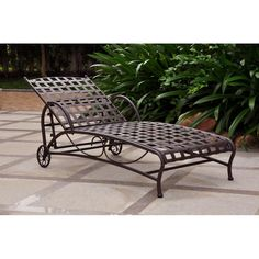 Have to have it. International Caravan Santa Fe Wrought Iron Multi Position Single Outdoor Chaise Lounge $279.99