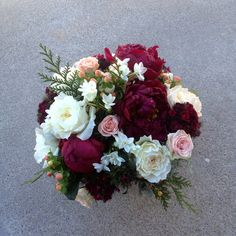 Marsala & blush holiday bouquet of peonies, roses & narcissus by San Diego Florist, Compass Floral.