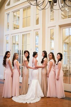 Michelle+Joe | Bridal Party Portraits | Pale Pink Long Bridesmaid Dresses | The Ryland Inn | New Jersey | Olivia Christina Photo