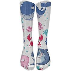 Sea Life Party Shark Crab Octopus Knee High Graduated Compression Socks For Women And Men - Best Medical, Nursing, Travel