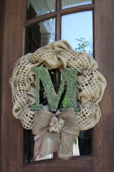 Burlap Door Wreath with Moss Covered by CellaJaneCreations on Etsy, $70.00