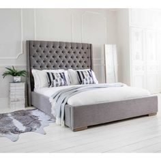 Studs & Buttons Grey Upholstered Bed - French Bedrooms