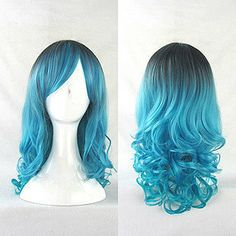 Black and Blue Omber Wig Harajuku Style 50cm by CosplayWigStore, $36.00