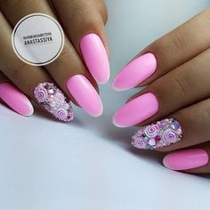 Hot Trendy Nail Art Designs that You Will Love Nails Only, Get Nails, Fancy Nails, Hair And Nails, Nail Art Designs, Pretty Nail Designs, Colorful Nail Designs, Rose Nails, Pink Nails