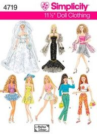 11 inch Fashion Doll Clothes Sewing Pattern 4719 Simplicity fits barbie and other inch dolls Barbie Sewing Patterns, Doll Dress Patterns, Clothing Patterns, Barbie Wedding Dress, Barbie Dress, Barbie Doll, Girl Barbie, Wedding Dresses, Crochet Barbie Clothes