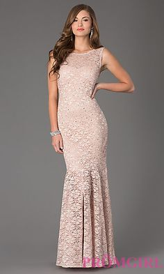 Sleeveless Floor Length Lace Dress with Open Back by Jump at PromGirl.com