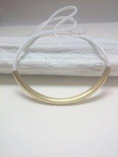 Collier long blanc en corde nylon et pendentif tube courbé en laiton brut doré - WHITE CORD by ArtyAri on Etsy