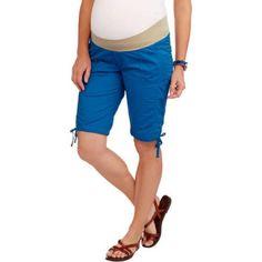 Oh! Mamma Maternity Demi-Panel 11 inch Cargo Bermuda Shorts, Size: Large, Multicolor