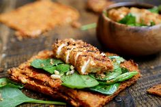 Grilled Breaded Tofu Steaks with Spinach Salad and Tomato Flaxseed Bread - Favourite Recipes, Recipes, Vegetables - Divine Healthy Food