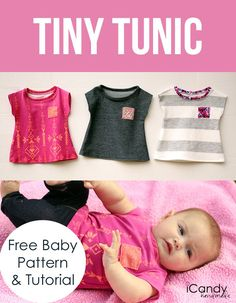 DIY sewing tutorial for a cute dolman sleeve baby tunic. So simple!