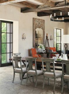 Table, chairs, beams....rough luxe Barbara Colvin