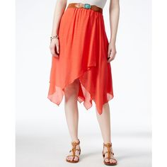 Bcx Juniors' Belted Handkerchief-Hem Skirt ($39) ❤ liked on Polyvore featuring skirts, coral, coral skirt, handkerchief hem skirt, white skirt, white knee length skirt and belted skirt