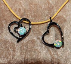 white fire opal necklace pendant gems black gold filled jewelry cocktail Heart A #Pendant