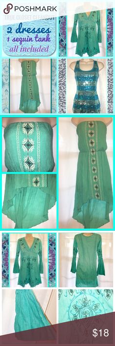 """👗Teal bundle👗 True closet CLEANOUT. Will not split. This includes both dresses and one sequin tank. All are size medium. Bell sleeve dress bust measurement is 17.5"""" pit to pit flat. Strapless hi-Lo dress has elastic at the top and bust measurement is 17"""" pit to pit flat. Sequin racer back tank has a bust measurement of 17"""" from pit to pit flat. Dresses Strapless"""