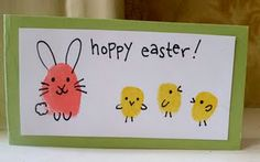 Easter card using thumb prints