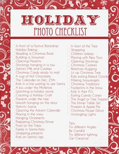 Free Holiday Photo Checklist!