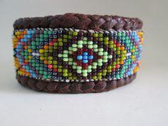 Huichol StyleMandala Beaded Bracelet Cuff on Leather OOAK. $70.00, via Etsy.