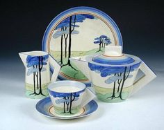 Clarice Cliff Early Morning Conical Tea Set, 1933.