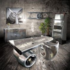 Kenneth Goodall deposit Large Aviator Executive Desk - Polished Aluminum Jet Engine and Wing Aviation Furniture, Aviation Decor, Airplane Decor, Unique Furniture, Furniture Design, Online Furniture, 3d Wall Art, Egg Chair, Decoration