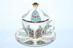 Russian Imperial Lomonosov Porcelain Lidded Tea cup & saucer Fantastic Flowers | eBay