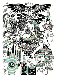 Images of bohemian drawings - Kunst Tattoos, Body Art Tattoos, Tatoos, Flash Tattoos, Art And Illustration, Illustrations, Arte Sketchbook, Desenho Tattoo, Psychedelic Art