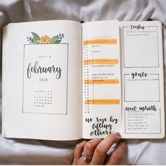 February cover page, flower drawing, monthly calendar, vertical calendar, linear calendar, monthly tasks tracker, monthly goals tracker, monthly highlights, bullet journal with Dutch door.