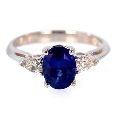 Sapphire & Pear Shaped Diamond Engagement Ring