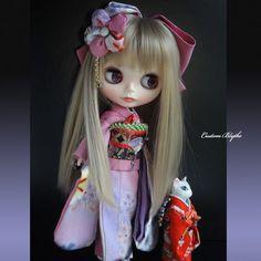 Kyohiro custom Blythe ☆ silk Tango crepe kimono ☆ peony color ♪ Find her here…