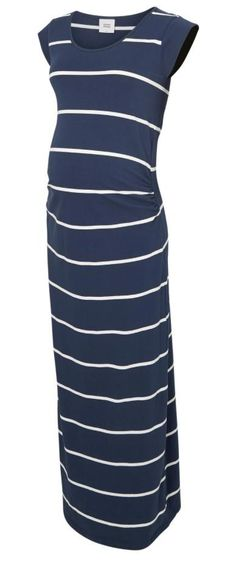 The Ally jersey basic striped maternity maxi dress is a great item for your maternity wardrobe which you can dress up or down easily. A nice light weight jersey dress that is perfect for the warmer months or holidays but equally as good on cooler days teamed with a cardigan. It has gatherings at the front sides which allow for plenty of bump growth and small cap sleeves to keep your shoulders covered.  Dark navy with white stripes.