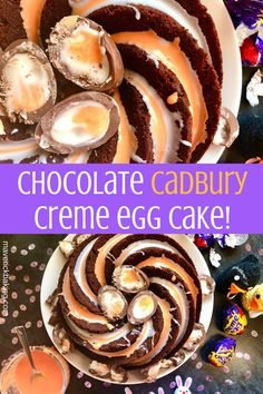 a towering, rich and moist chocolate cake dripping with Creme Egg style icing and piled with gooey Cadbury Creme Eggs. Best Dessert Recipes, Fun Desserts, Sweet Recipes, Delicious Desserts, Cake Recipes, Egg Recipes, Recipies, Creme Egg Cake, Creme Eggs