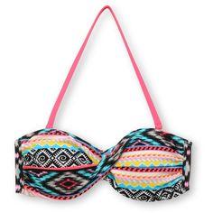 Malibu Dream Head Games Tribal Twist Bandeau Bikini Top ($25) ❤ liked on Polyvore