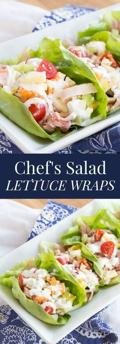 Chef's Salad Lettuce Wraps - turning your favorite salad recipe into finger food makes it even more fun and delicious with #HillshireFarmNaturals! #ad | cupcakesandkalechips.com | gluten free, grain free, low carb