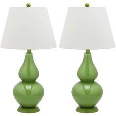 Safavieh Cybil 26.5 in. Fern Green Double Gourd Glass Lamp (Set of 2)