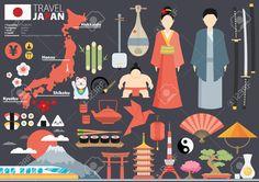 Japón Planas Iconos Diseño Viaje Concept.Vector Ilustraciones Vectoriales, Clip Art Vectorizado Libre De Derechos. Image 42156544.