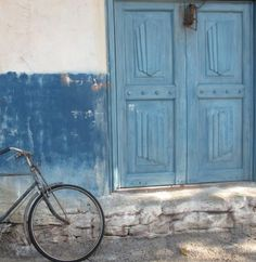 Blue Doors, Blue Bicycle ~ via Italian Girl in Georgia: Out of Africa