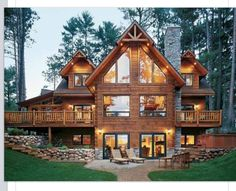 I love the exterior and the way it was setup. Good Idea for the main lodge.could eventually add a pool with good space around the house like that.