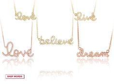 The Words Necklaces in diamonds and gold. Sydney Evans.