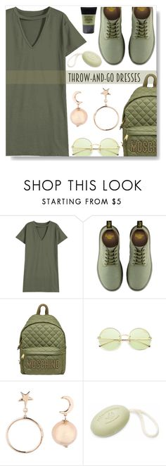 """""""Throw and go dress"""" by simona-altobelli ❤ liked on Polyvore featuring Dr. Martens, Moschino, Pré de Provence and Smashbox"""
