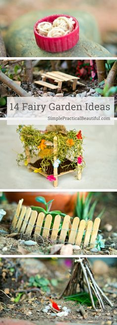 Lots of easy DIY fairy garden ideas for making cute miniature accessories and fairy houses.
