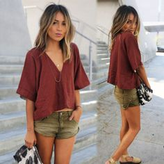 Casual Women Half Sleeve Cotton Linen V Neck Short Tops Cropped Loose Blouse Tee