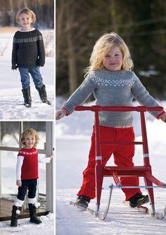 Med en god grunnoppskrift kan du lett variere motivene på disse gensernes bærestykke. Modellene passer like fint til gutter som til jenter, men vi tipper nok at det er jentene som helst vil ha den med hjertemotiv.