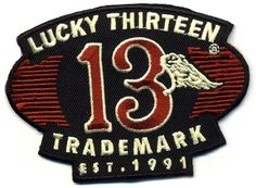 lucky 13 patch badge trademark wing hot rod drag race motorcycle biker chopper