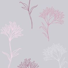Casa Nuova  This elegant paper combines a pale silvery-grey background with delicate pink and purple floral stems for a pretty but sophisticated design.   From the Casa Nuova Collection, starting at £32.45 per roll at Galerie