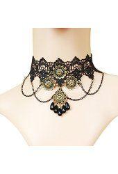 Time Pawnshop Gothic Retro Sunflower Drop-shape Black Lace Elegant Choker…