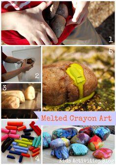 Melted Crayon Art Rocks