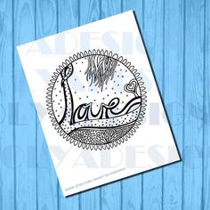 Adult coloring page love doodle instant download by olyadesign