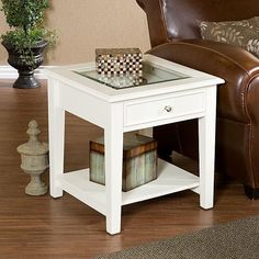 Glass End Table White Display Contemporary Solid Wood Contemporary Square New #HarperBlvd #ContemporaryNautical #Table #White #Furniture #Home